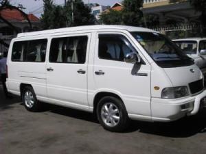 Minibus transfer in Cambodia